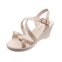 HANYI Women Ladies Summer Peep Toe Platform Wedges Sandals