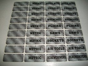 Diamond Plate Tool Box Decals, 36-Pcs Kit, Find Your Tools Quick