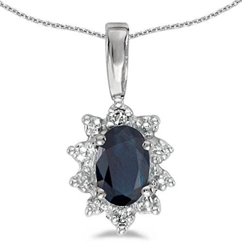 This 10k white gold oval sapphire and diamond pendant features a 6x4 mm genuine natural sapphire with a 0.39 ct total weight. by sendmyjewelry