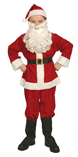 Santa Claus Girl Costumes (Complete Santa Claus Suit Set Child Costume Size 8-10 Medium by Halco)