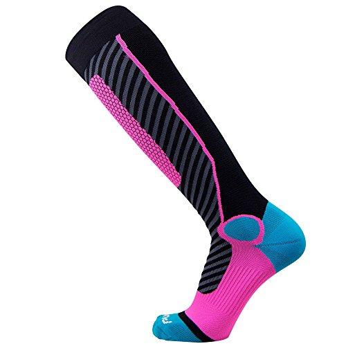 - Pure Athlete Ski Socks for Men and Women - Striped Warm Merino Wool Skiing, Snowboard Winter Sock - Midweight, Shin Padding (S, Black/Aqua/Neon Pink)