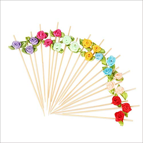 Multicolor Rose Flowers Cocktail Picks Bamboo Appetizer Toothpicks For Wedding Birthday Valentine's Day Food Drinks Desserts Canape Stick Kebob Skewers Party Food Decorations 4.7