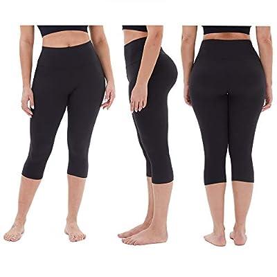 TNNZEET High Waisted Capri Leggings for Women - Soft Tummy Control Slim Exercise Pants for Yoga Workout - Regular & Plus Size at Women's Clothing store