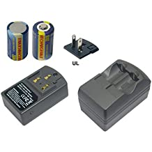 PowerSmart Battery Charger for CANON CR123A, DL123A, Canon AutoBoy Series, Canon EOS Series, Canon Prima Series, Canon Sure Series, (Fits selected models only), [This product package includes 1 charger and 2 pcs of RCR123A rechargeable batteries]