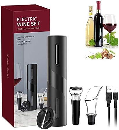 Sacacorchos Electrico Profesional, Juego de Abrebotellas Eléctrico 5 en 1, Abridor de Vino Electrico con Cortacápsulas, Vertedor, Tapón de Vino de Vacío y Cable de USB