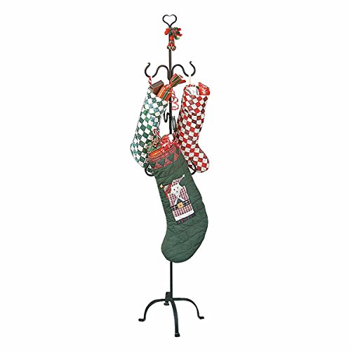Christmas Stocking Holder Free Standing Wrought Iron 6 Hanger Hooks with Heart Tip Top Rust Resistant Easy Assembly]()