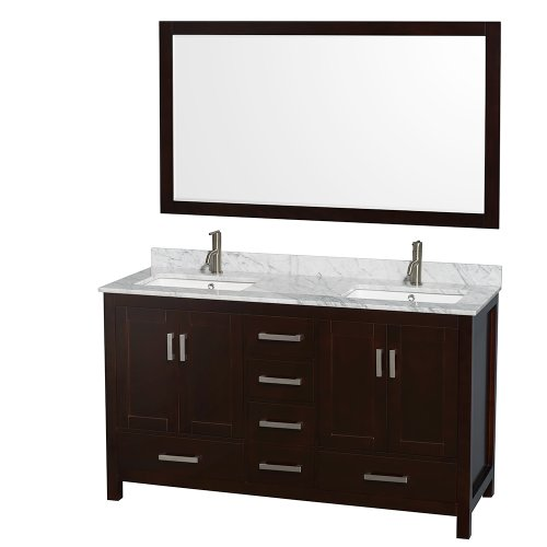 Wyndham Collection Sheffield 60 inch Double Bathroom Vanity in Espresso, White Carrera Marble Countertop, Undermount Square Sinks, and 58 inch Mirror (Vanity Top Collection)