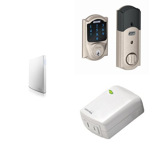 Wink Hub 2 with Schlage Connect BE469NX CAM 619 Touchscreen Deadbolt, Satin Nickel, and Leviton Z-Wave Plug-In Dimmer, Works with Amazon Alexa