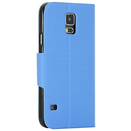 N55- Türkis Bookstyle Flip Cover mit Sichtfernster für Samsung Galaxy S3 mini i8190 Schutzhülle Smart Touch Hülle Smartphone Schale Handytasche Etui Case