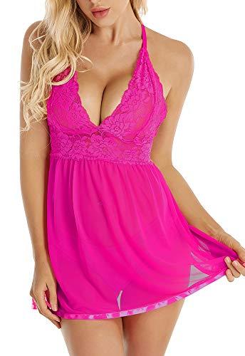 JOELLYUS Women Lingerie V-Neck Lace Babydoll Mesh Sleepwear Chemise(Rose Red, S)