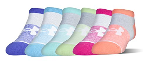 Under Armour Girls Essential No Show Socks (6 Pack), Tropical pink/Assorted, Youth Large