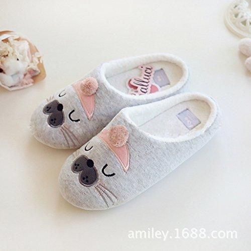 Fortuning's JDS Unisexo Adultos Pareja acogedor Lana Casa Calzado ovejas encantadoras Confortable Zapatillas