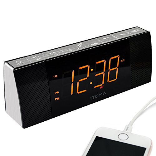 iTOMA Alarm Clock Radio with Bluetooth Speakers,Digital FM Radio,Dual Alarm with Snooze,Cell Phone USB Charging, Auto and Manual Dimmer, Auxiliary Input, Backup Battery (CKS503BT)