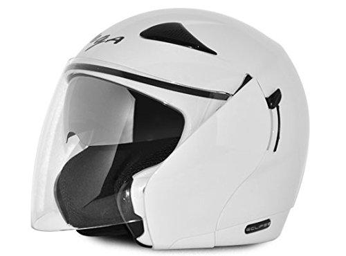 Vega Eclipse Open Face Helmet with Double Visor (White, M)