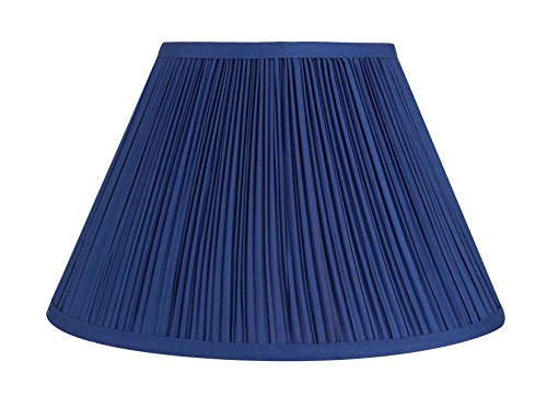 Urbanest Mushroom Pleated Softback Lamp Shade, Faux Silk, 6-inch by 12-inch by 8-inch, Navy Blue, Spider Washer Fitter - Blue Pleated Floor Lamp