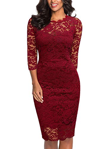 Miusol Women's Retro Floral Lace 2/3 Sleeve Slim Party Dress,Medium,Red