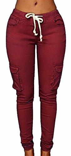 Extensible Haute Haute au Taille Dchirs Wine Red Skinny Scothen Dchir Haute Pantalon Pantalon Pantalons Taille Stretch Leggings Skinny Pantalons Pantalon Crayon Denim Jeans Genou Taille Denim Pants zqTw1Y