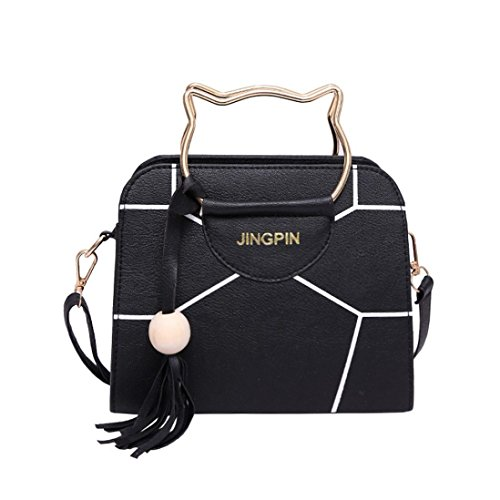 FitfulVan Clearance! Hot sale! Bags, FitfulVan Girls Cute Cat Handle Handbag Leather Purse Crossbody Shoulder Bag (Black)