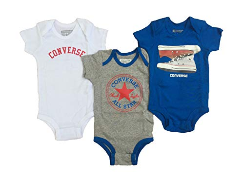 Converse Infant Baby 3 Piece Bodysuit Set (Soar(IBSPC0223)/White/Red/Blue, 0-6 Months) -