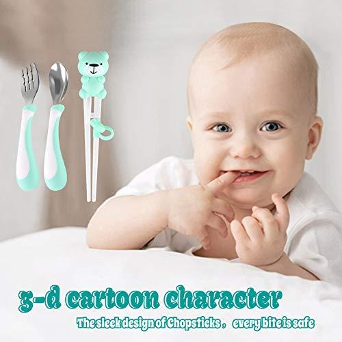 Training Helper Chopsticks Stainless Steel Spoon, Fork and Case Set for Children Kids