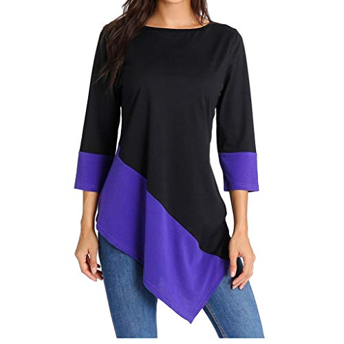 ANJUNIE Women Fashion 3/4 Sleeve Solid Color Patchtwork Blouse Casual Loose Tunic Tops(Purple,XXL)