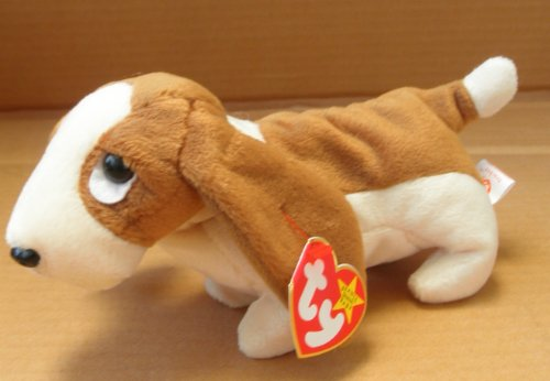 TY Beanie Babies Tracker the Basset Hound Dog Stuffed Animal Plush Toy - 8 inches long