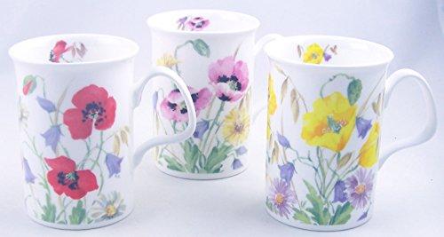 Fine English Bone China Mugs - Set of Three - English Meadow By Roy Kirkham