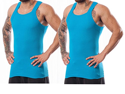 5d5f8d2ed Galleon - 2 Pack Men's G-unit Style Tank Tops Square Cut Muscle Rib A-Shirts  (M, Turquoise)