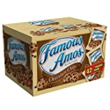 Famous Amos Cookies, Chocolate Chip, 2 oz Snack Pack, 42 Packs/Carton (1 carton)