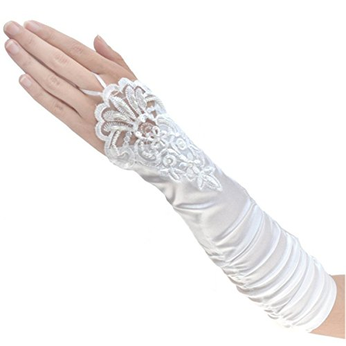 Tapp C. Fingerless Floral Embroidery Lace Opera Length Satin Gloves - -
