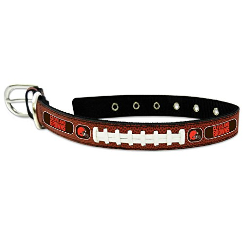 GameWear NFL Cleveland Browns Classic Leather Football Collar, Large, Brown