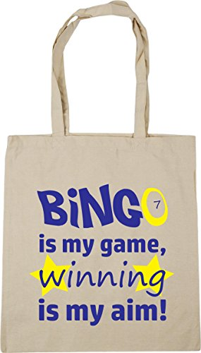 HippoWarehouse Bingo is my Game, Winning is my Aim Tote Shopping Gym Beach Bag 42cm x38cm, 10 litres Natural