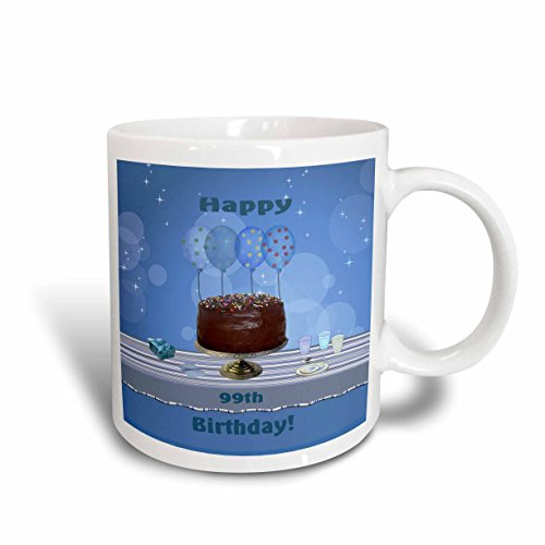 3dRose-Beverly-Turner-Birthday-Design-99th-Birthday-Party-with-Chocolate-Cake-and-Blue-Balloons-Mugs