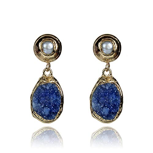 Fashion earring for women, gemstone earring, novelty earring for girl, special earring for lady, dark blue geode and pearl -