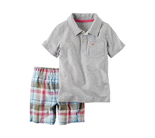 Plaid Boys Shorts (Carter's Baby Boys' 2-Piece Henley And Plaid Shorts Set 9 Months)