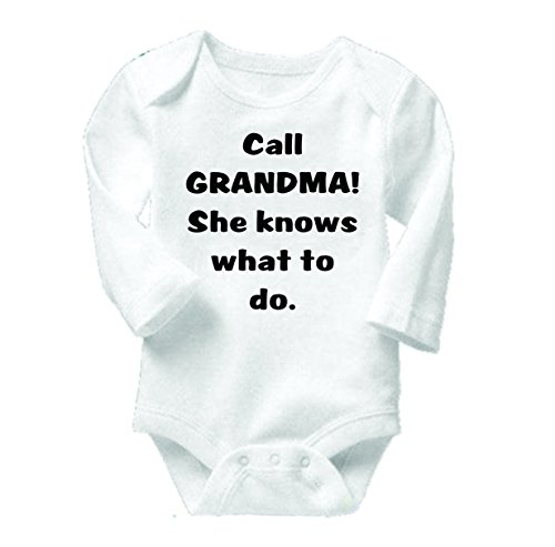 Baby Clothes Call Grandma She Knows What To Do Bodysuit One-Piece Shirt Romper Creeper Outfit Novelty Romper Boutique With Sayings Longsleeve