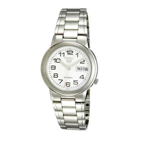 Seiko SNXE95K - Reloj de caballero automático 21 JW - SEIKO 5 - Acero inoxidable-Esfera blanca con números y Calendario.: Seiko: Amazon.es: Relojes