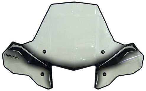 PowerMadd 24572 ProTEK Windshield for ATV - Rapid Release Mount - Clear with black graphics and headlight cut-out
