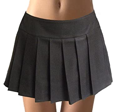 Black Plus Size Pleated Schoolgirl Mini Skirt Glenelg