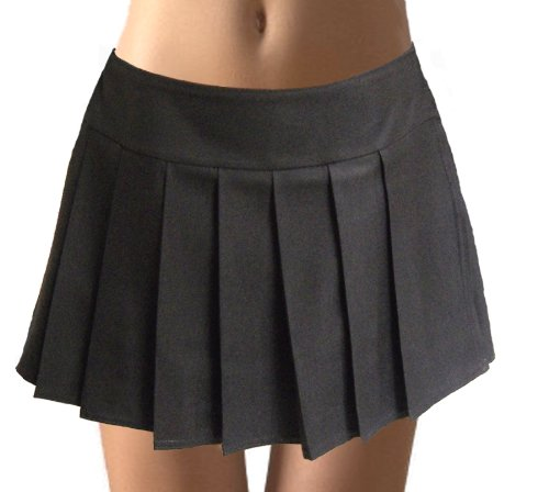 Black Pleated Schoolgirl Mini Skirt Glenelg at Amazon Women's ...