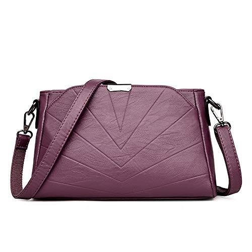 Moda Mensajero De Xmy Señoras Las Múltiples Bolsa Con Suave Púrpura Bolso La Hombro Cuero Usos qwRppxBAE