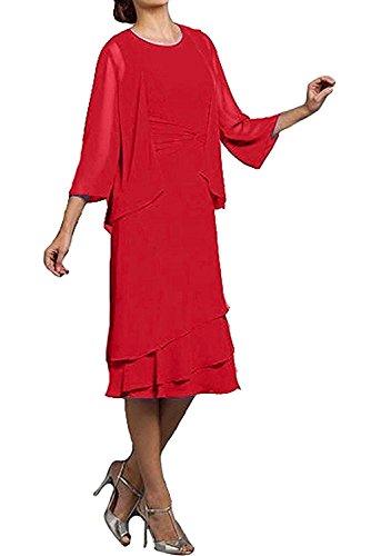 Brautmutterkleider mit Marie Rot Partykleider Braut Knielang Damen Promkleider Abendkleider La Schwarz Bolero AIn4qABg