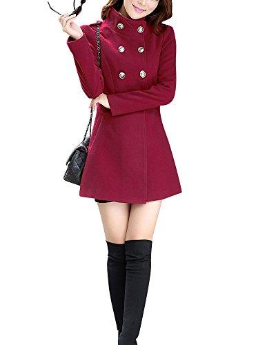 Femme Double breasted Manteau Laine et Polyester Veste Mode Automne-Hivers Costume Vin Rouge