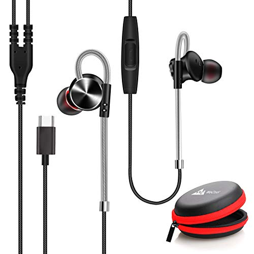 LD WeCool Mr Bass W010 Metallic In Ear Type C Earphones with Mic for Rich Bass and Noise Cancellation Unique Design Sports USB Type C Earphone compatible with One Plus 7 7 Pro 6T with free carry case Black