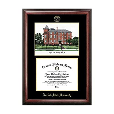 Campus Images Sports Team Logo Design Norfolk State Gold Embossed Diploma Frame with Campus Images Lithograph
