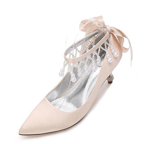 Zapatos Estrecha Zapatos Champagne Satinado Para Mujer Tacón Para D17767 La de Plataforma Elegant shoes 32 de high Nupcial de de Marfil Kitten Y Boda de Punta AfqnHwET