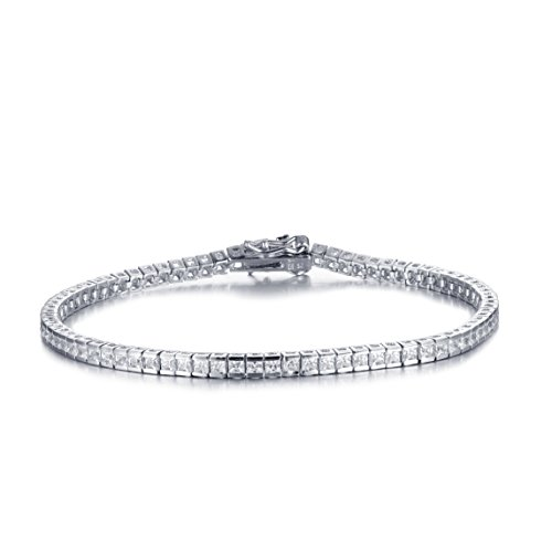 Designer Style Cubic Zirconia Bracelet (Mia Sarine Womens Cubic Zirconia Channel Set Tennis Bracelet in Rhodium Plated Sterling Silver)