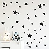 Black stars wall decals in assorted sizes, Nursery wall decor,...
