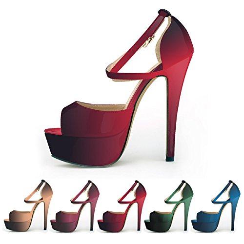 3a910874f6a04 ZriEy Women Sandals 14CM / 5.5 inches High-Heeled Peep Toe ...
