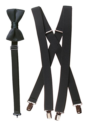 (Tuxgear Boys Bow Tie and Suspender Set Combo, Charcoal Grey, Boys 30 Inch (30
